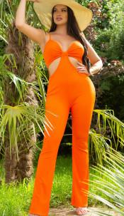 Sexy spaghetti strap jumpsuit met uitsparingen oranje