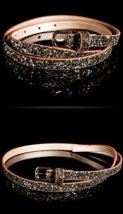 Trendy belt with glitter Brownblack