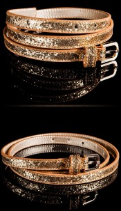 Trendy belt with glitter Browngold