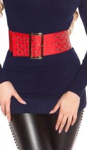 Sexy waist belt with studs Red