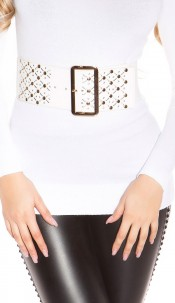 Sexy waist belt with studs White