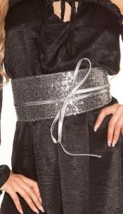 Sexy waist belt with sequins Blacksilver