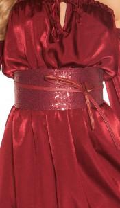 Sexy waist belt with sequins Bordeaux
