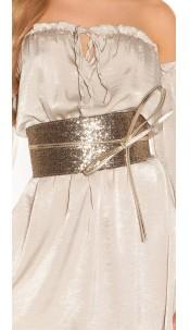 Sexy waist belt with sequins Goldblack