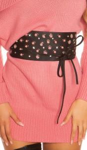 Sexy waist belt with eyelets & rhinestones Black