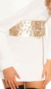 Sexy waist belt with eyelets & rhinestones Gold