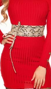 Trendy waist belt reptile print for tying Beige