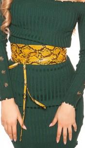 Trendy waist belt reptile print for tying Orange