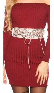 Trendy waist belt reptile print for tying Pink