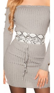 Trendy waist belt reptile print for tying White