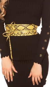 Trendy waist belt reptile print for tying Yellow