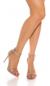 Sexy high heel sandals with straps Grey