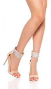 Sexy high heel sling sandal with rhinestones Beige