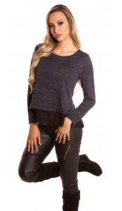 Sexy 2in1 KouCla sweater with Chiffon Navy