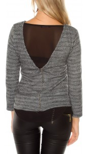 Trendy Koucla pullover with zip Blackwhite