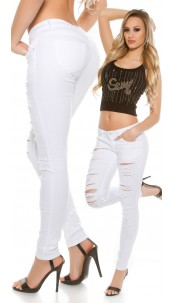 Sexy skinny Jeans destroyed look White