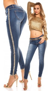 Sexy skinny Jeans used look with sequin bordure Jeansblue