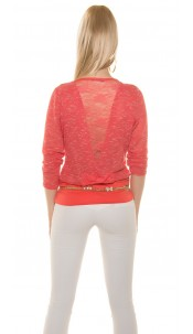 Sexy KouCla Shirt with lace on back Coral