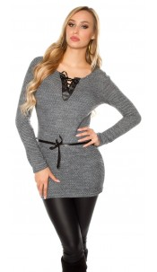 Trendy pullover with fake leather and lacing Anthracite