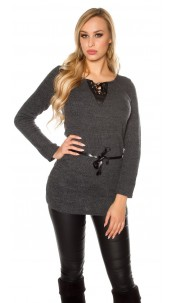 Trendy pullover with fake leather and lacing Black