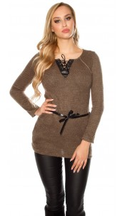 Trendy pullover with fake leather and lacing Brown