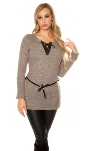 Trendy pullover with fake leather and lacing Cappuccino
