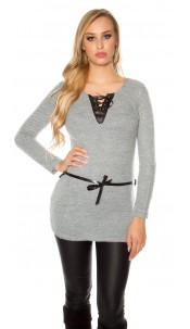 Trendy pullover with fake leather and lacing Grey