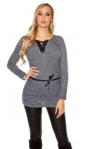 Trendy pullover with fake leather and lacing Navy
