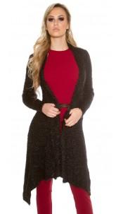 Trendy fluffy Long Cardigan Black