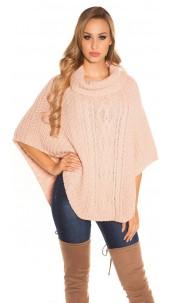 Sexy KouCla knit poncho cable pattern Pink