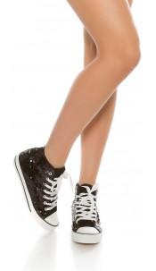 Trendy colour change sequin sneakers Chucks-Style Blackgold