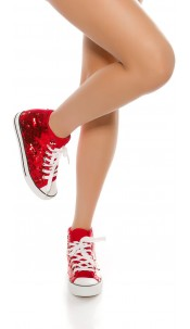 Trendy colour change sequin sneakers Chucks-Style Red
