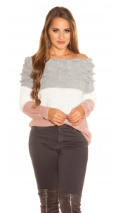 Sexy KouCla Off Shoulder Knitted Sweater Grey