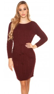 Sexy Roughknit Mini Dress With Tieback Bordeaux