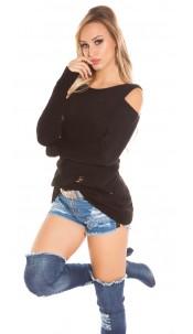 Trendy KouCla Cold Shoulder jumper Used Look Black