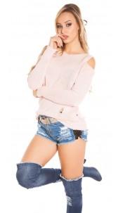 Trendy KouCla Cold Shoulder jumper Used Look Pink