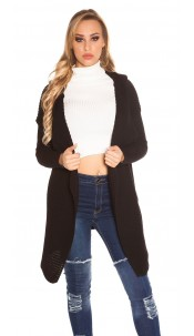Trendy KouCla Hooded Caridgan Black
