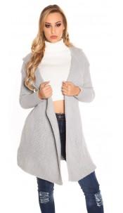 Trendy KouCla Hooded Caridgan Grey