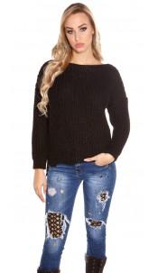 Trendy KouCla chunky knit sweater with pockets Black