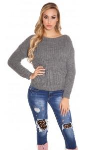 Trendy KouCla chunky knit sweater with pockets Grey