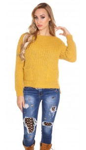 Trendy KouCla chunky knit sweater with pockets Mustard