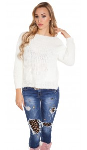 Trendy KouCla chunky knit sweater with pockets White
