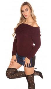 Trendy KouCla rough knitted jumper w. XL collar Bordeaux
