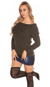 Trendy KouCla rough knitted jumper w. XL collar Khaki