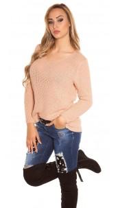 Trendy Koucla rough knit sweater with round neck Antiquepink