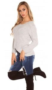 Trendy Koucla rough knit sweater with round neck Grey