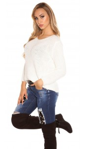 Trendy Koucla rough knit sweater with round neck White