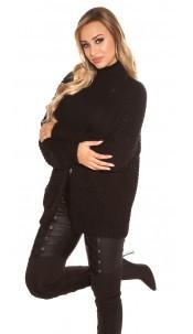 Trendy KouCla chunky knit cardigan Black