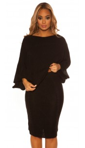 Sexy Koucla Set short jumper & skirt w. pattern Black