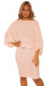 Sexy Koucla Set short jumper & skirt w. pattern Pink